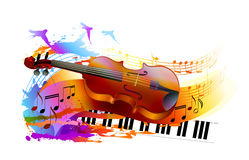 Music background with violin and piano. Colorful music background with violin, piano, musical notes and birds Royalty Free Stock Photo