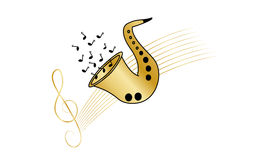Music background. White background with saxophone and treble clef Stock Photos