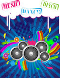 Music Backgrounds. Abstract Music Backgrounds for discoteque or party flyer with design elemnts Royalty Free Stock Photo