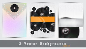 Music backgrounds set. Set of 3 music backgrounds. Space for your text Royalty Free Stock Photography