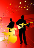 Music Band on Abstract Red Background Royalty Free Stock Photos