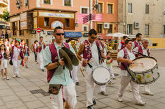 Music Band. ARANDA DE DUERO, BURGOS, SPAIN - JULY 5: Typical music band, on July 5, 2014. Spanish eople celebrates festive days with music on the streets Stock Images