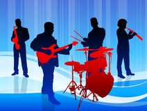 Music Band on Blue Background Stock Photo