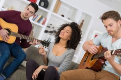 Music band during cd recording in studio royalty free stock image