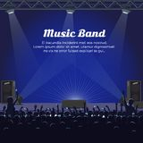 Music Band Concert at Big Stage with Spotlights. Powerful sneakers and audience room with people who raise hands and cellphones vector illustration Royalty Free Stock Photography