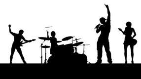 Music Band Concert Silhouettes. A musical group or rock band playing a concert in silhouette royalty free illustration