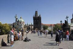 Music band of Czechia people playing music for show on Charles Bridge p Royalty Free Stock Photos
