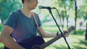 Music band. Duet. Ensemble. Singer and performer. Song's author. stock video footage