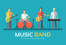 Music band in flat design background concept. Melodic musical concert quartet of musicians. Icons for your product. Or illustration Royalty Free Stock Images