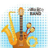 Music Band Instruments Set Banner Musical Concert Poster Concept Royalty Free Stock Photography