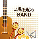 Music Band Instruments Set Banner Musical Concert Poster Concept Stock Photos