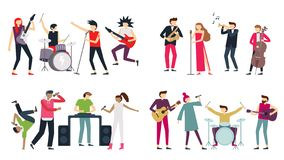 Music band. Jazz blues, punk rock and indie pop bands. Metal guitarist, drummer and rap singer isolated musicians vector royalty free illustration