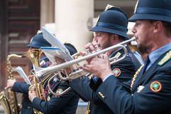 Music band of local police in milano Royalty Free Stock Image