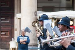 Music band of local police in milano Stock Images