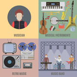 Music band and musical instruments Royalty Free Stock Images