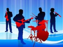 Music Band On Blue Background Stock Photo