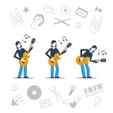 Music band playing live concert, three guitarists, audition Royalty Free Stock Image