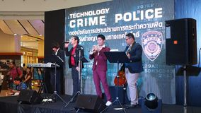 A music band plays at Technology Crime Police event stock footage