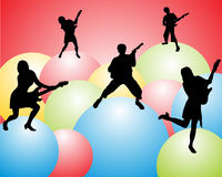 Music band - silhouettes. Vector illustration of people sihouettes with guitars on colorful balls Stock Photography