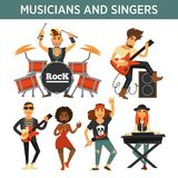 Music band singers, musicians and musical instruments vector flat icons. Singers, musicians and music band performers with musical instruments. Woman with vector illustration