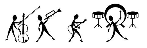 Music band. Vector illustration of music band on a white background stock illustration