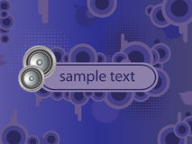 Music banner. Vector grunge background with banner and audio speakers Stock Photography