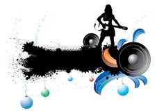 Music banner. Silhouette of girl with guitar on grunge banner with stars and christmas ball Stock Image