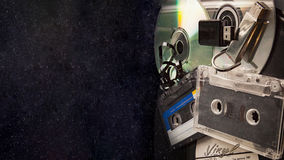 Music banner сassette vinyl record, analog audio tape and CD disk Stock Images