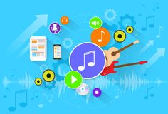 Music banner color icon flat set vector Royalty Free Stock Images