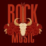 Music banner with electric guitar, roses and skull. Vector banner or emblem with words Rock music, electric guitar, a skull of a bull and red roses with barbed Royalty Free Stock Photo