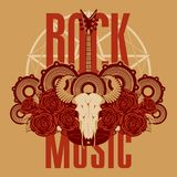 Music banner with electric guitar, roses and skull. Vector banner or emblem with words Rock music, electric guitar, a skull of a bull, roses and speakers on the Stock Photos