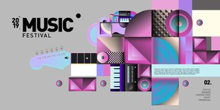 Vector Colorful Music Festival for Event Banner and Poster. Colorful Geometric Abstract Background Template in Eps10 royalty free illustration