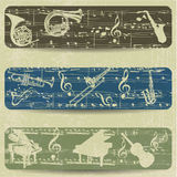 Music banner on grunge background Royalty Free Stock Photos