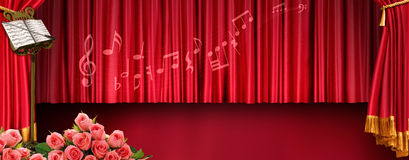 Music banner. Luxury music banner with stand red tones Royalty Free Stock Images