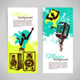 Music banners with hand drawn illustration and Stock Images