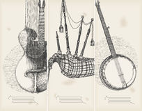 Music banners -traditional instruments Stock Photos