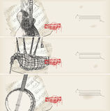 Music banners -traditional instruments with score stock illustration