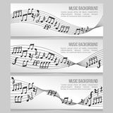 Music banners vector set with notes and sound wave. Music banners vector set with music notes and sound wave. Card with music note for melody illustration Stock Photo