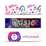 Music banners. Vector template with doodle lettering and musical elements. Hit parade concept. Royalty Free Stock Photo