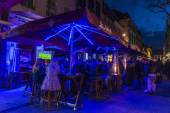Music bars and restaurants at night in Dusseldorf, Germany Royalty Free Stock Image