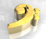 Music bass key symbol in gold. 3D Royalty Free Stock Image