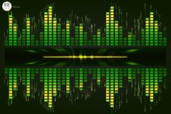 Music beat . Green lights background. Abstract equalizer. Sound Wave. Audio equalizer technology. Detailed bokeh. Spa vector illustration