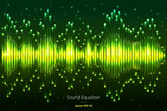Music beat . Green lights background. Abstract equalizer. Sound Wave. Audio equalizer technology. Detailed  bokeh. Spa Royalty Free Stock Photos