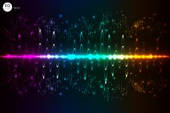 Music beat .  lights background. Abstract equalizer. Sound Wave. Audio equalizer technology. Detailed  bokeh. Space Fo Royalty Free Stock Photos