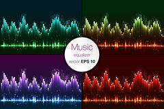 Music beat vector. Green lights background. Abstract equalizer.  Stock Photo