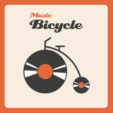 Music bicycle. Illustration of a bike with wheels of music discs Stock Photography