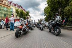 Music Bike Ukraine 2016. UZHGOROD - JULY 9: Music Bike festival on July 9, 2016 in Uzhgorod Ukraine. Opening of Music Bike Ukraine festival on Petefi Square Royalty Free Stock Photography