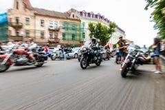 Music Bike Ukraine 2016. UZHGOROD - JULY 9: Music Bike festival on July 9, 2016 in Uzhgorod Ukraine. Opening of Music Bike Ukraine festival on Petefi Square Royalty Free Stock Photos