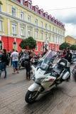 Music Bike Ukraine 2016. UZHGOROD - JULY 9: Music Bike festival on July 9, 2016 in Uzhgorod Ukraine. Opening of Music Bike Ukraine festival on Petefi Square Stock Photography