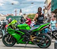 Music Bike Ukraine 2016. UZHGOROD - JULY 9: Music Bike festival on July 9, 2016 in Uzhgorod Ukraine. Opening of Music Bike Ukraine festival on Petefi Square Stock Images